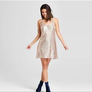 Women's Strappy Y Back Sequin Mesh Dress